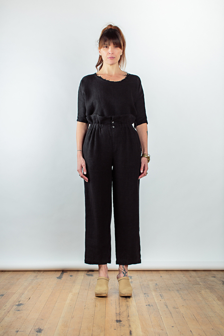 Black Crane burlap pants