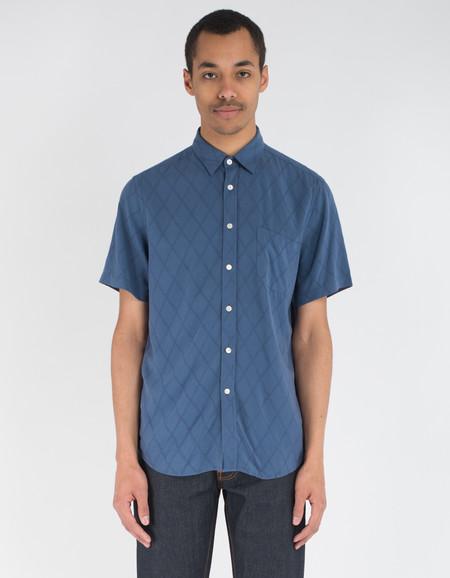 Portuguese Flannel Grogue Short Sleeve Shirt Navy