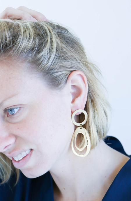 Modern Weaving Oval Hoop Stack Earrings in Brass