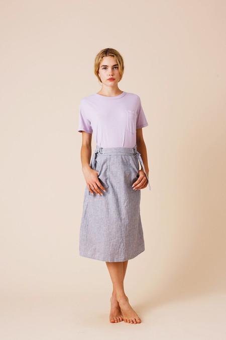 Calder Blake O'Keefe Chambray Wrap Skirt