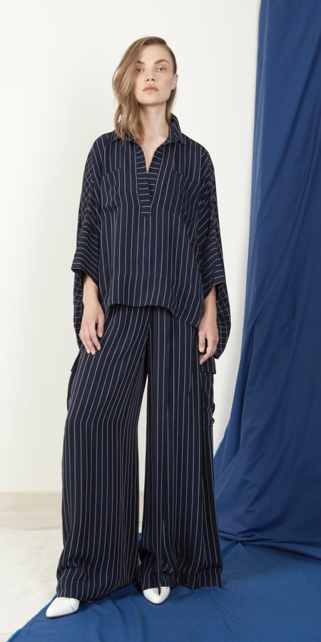 SCHAI Néhmo High-Low Shirt in Stripe & Grid Combo