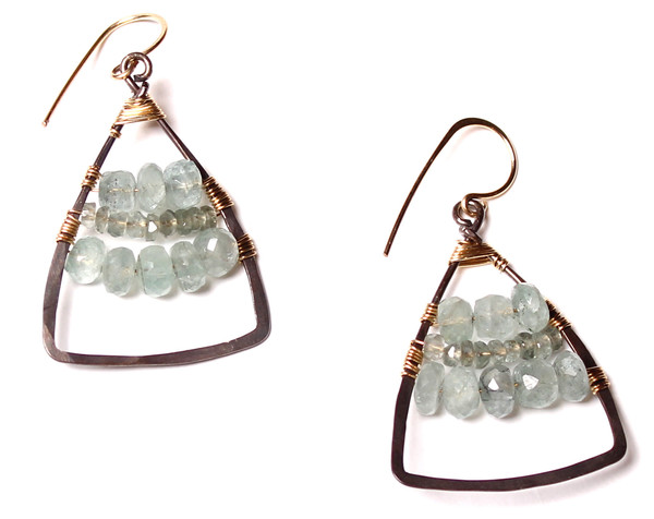 James and Jezebelle Moss Aquamarine Triangle Hoops