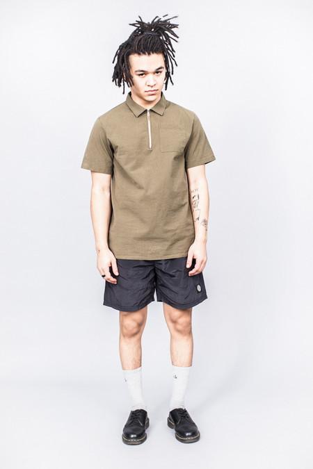 Très Bien Camp Shirt Army Green Seersucker
