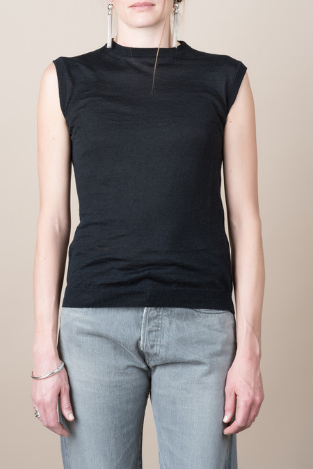 Evam Eva Linen Vest In Black