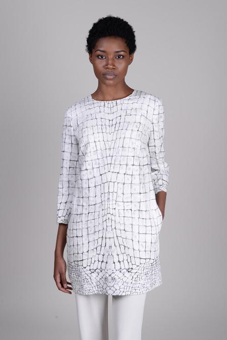 Raquel Allegra Bleached Gator Linen Shift Dress