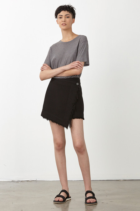 Raquel Allegra BLACK OUTERWEIGHT DUAL CANVAS WRAP SKIRT