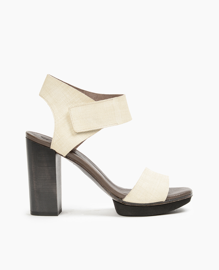 Coclico heels in linen effect embossed Italian leather