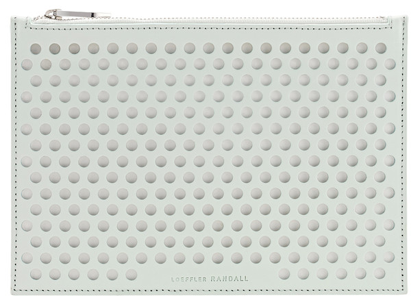 Loeffler Randall Small Pouch Clutch in Mint/White