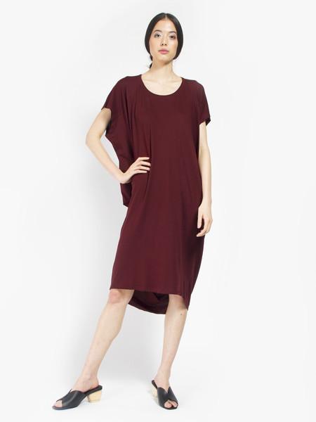 Kowtow Building Block Drape Dress Burgundy