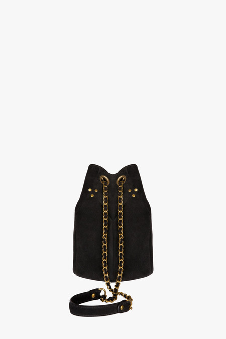 Jerome Dreyfuss Popeye Bucket Bag in Noir Split Suede