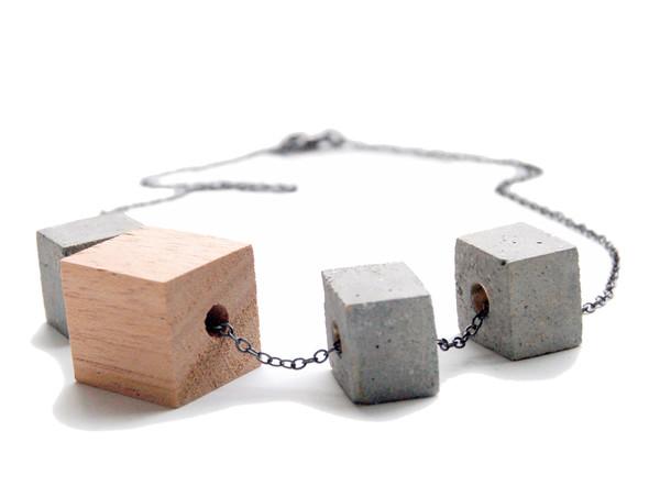 Wood and Concrete Block Necklace