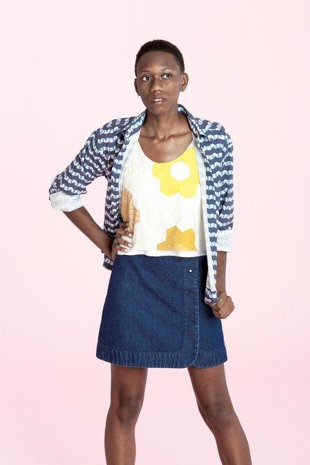 Carleen Snap Skirt - Denim
