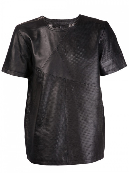 Sons Of Heroes Black leather perforated striped t-shirt