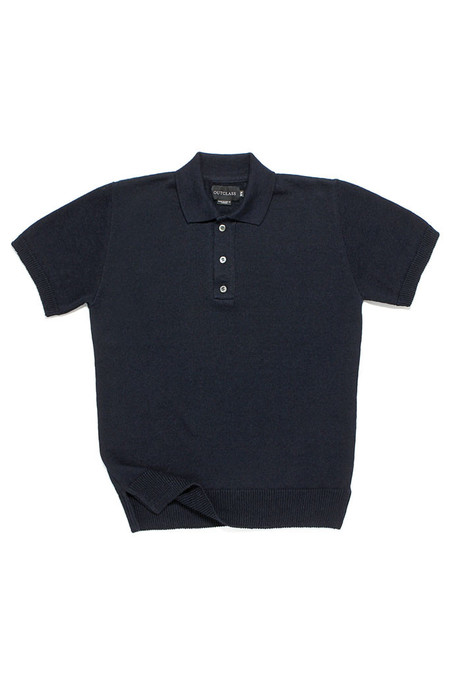 Outclass Linen Knit Polo Indigo