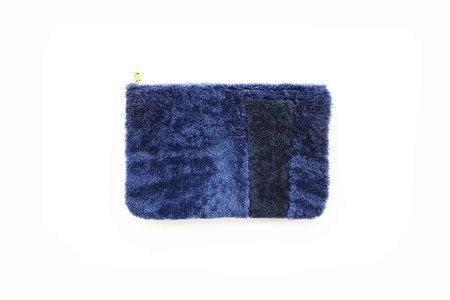Primecut Blue Patchwork Sheepskin Clutch