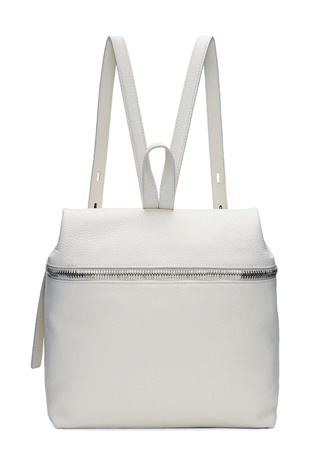 KARA Large Pebbled Leather Backpack - White