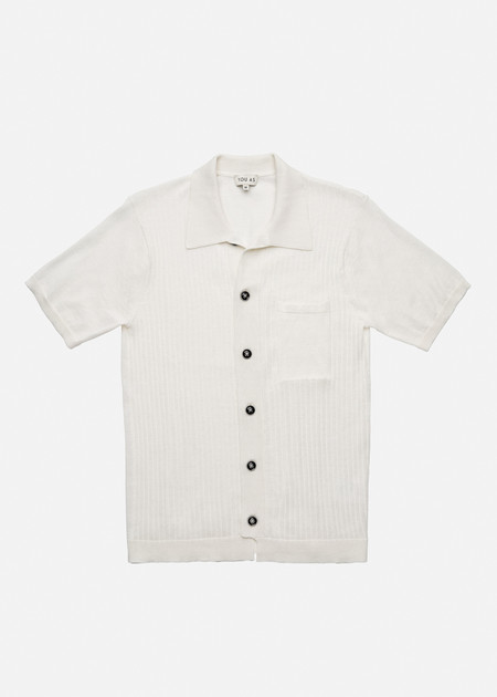 YOU AS Harvey Knit Bowling Shirt in Ivory