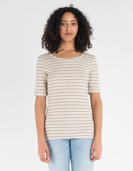 Just Female Nova Tee Light Sand Black Stripe