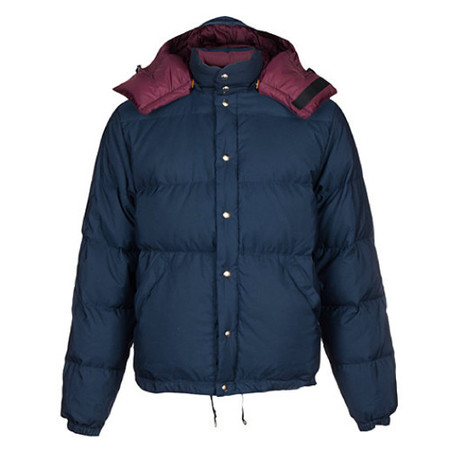 {ie X CRESCENT DOWN WORKS HOODED DOWN JACKET NAVY / BURGUNDY