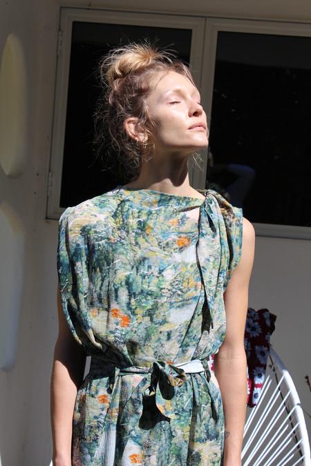 Anntian Silk Knotted Dress Print B