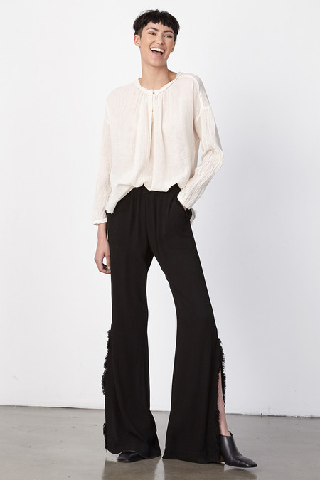 Raquel Allegra DIRTY WHITE GAUZE SHIRRED BLOUSE