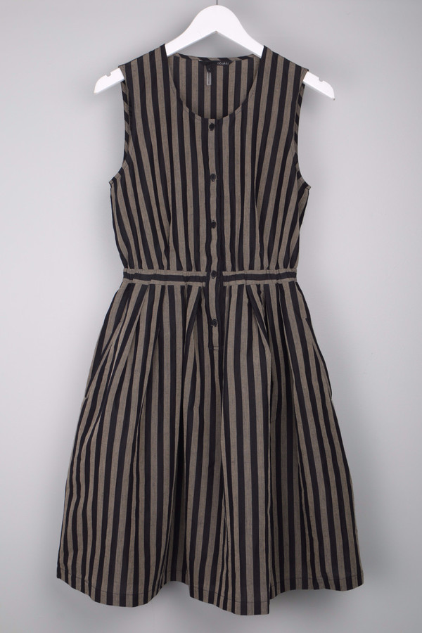 Obakki Navy Stripe Button Up Dress