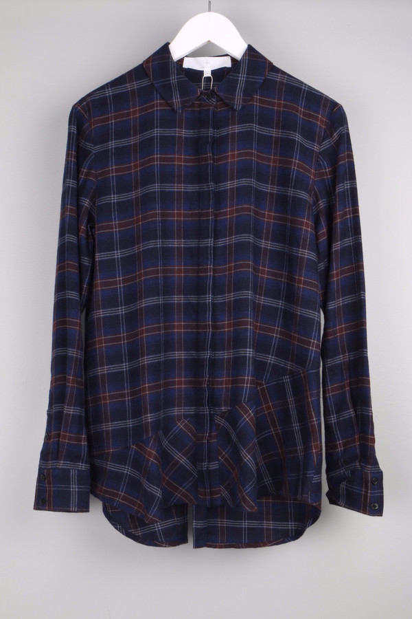 Thakoon Addition Flannel Open Back Shirt