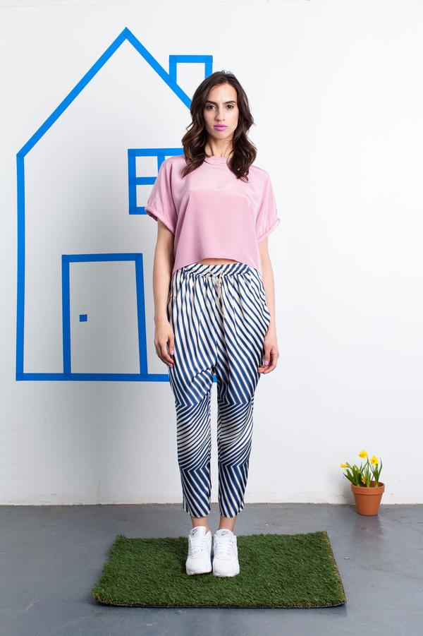 Tia Cibani Ankle Crop Silk Track Pants