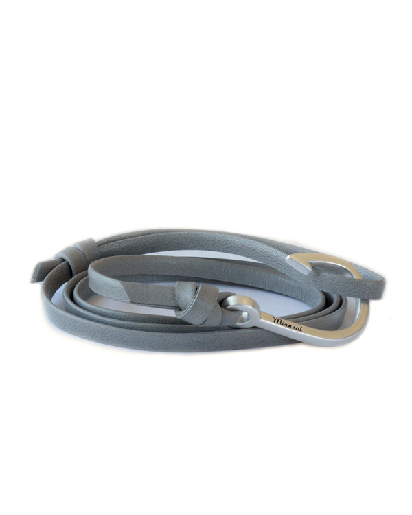 Miansai Silver Fish Hook And Grey Leather Wrap Bracelet