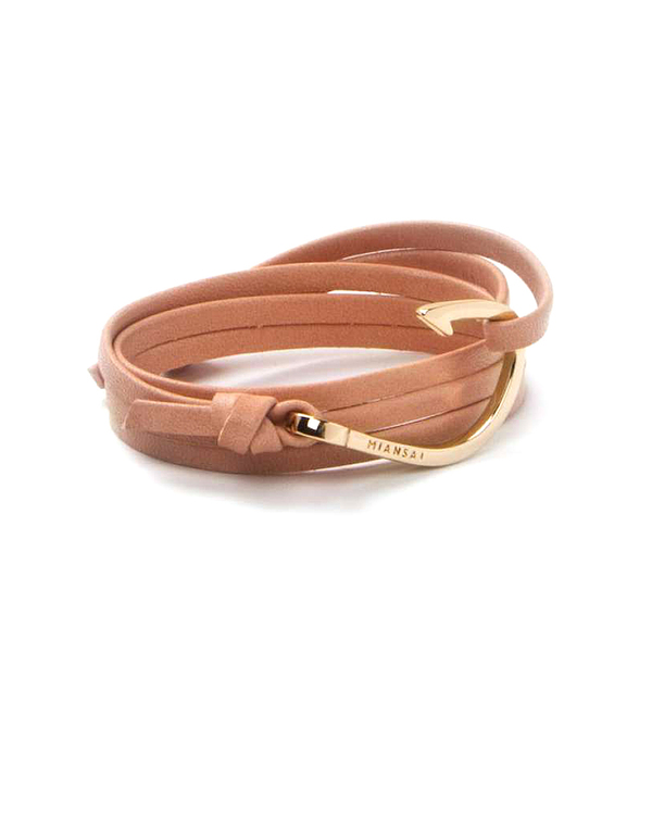 Miansai Gold Fish Hook And Salmon Pink Leather Wrap Bracelet