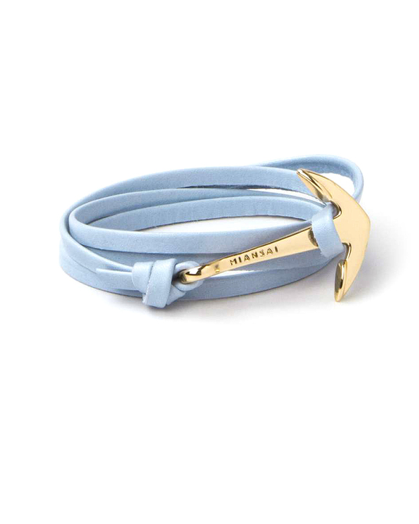 Miansai Gold Anchor And Sky Blue Leather Wrap Bracelet