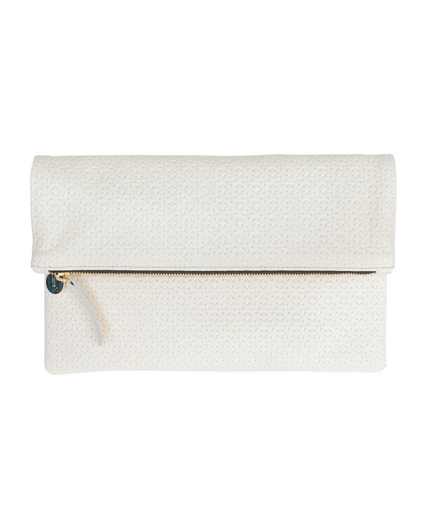 Clare V. Foldover Clutch in White Rattan Textured Leather