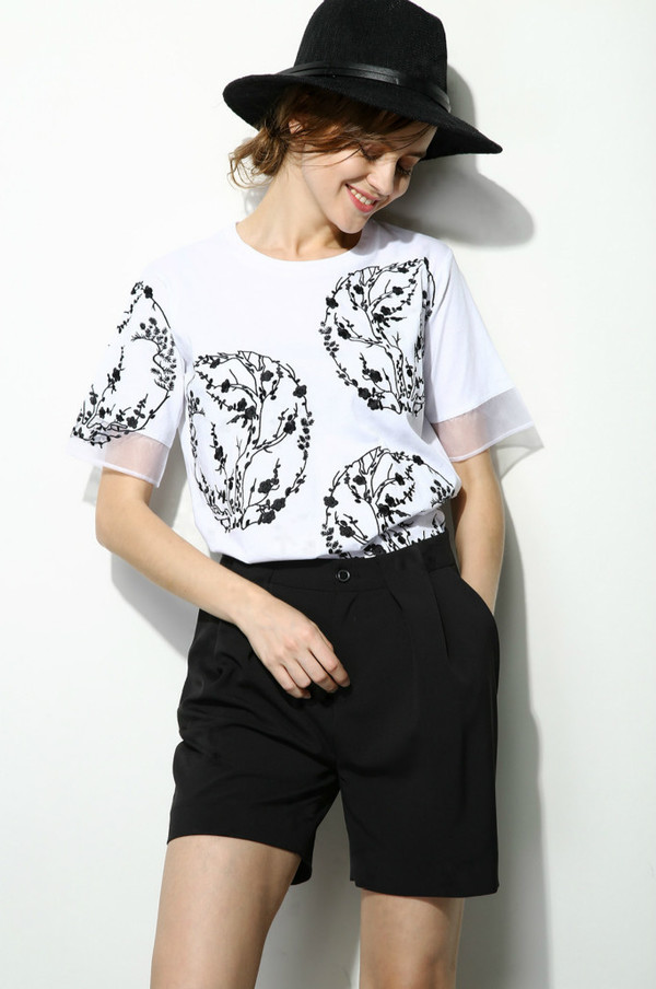Few Moda Elise Minimal Cashmere Sweater.  Embroidered Top With Sheer Sleeves