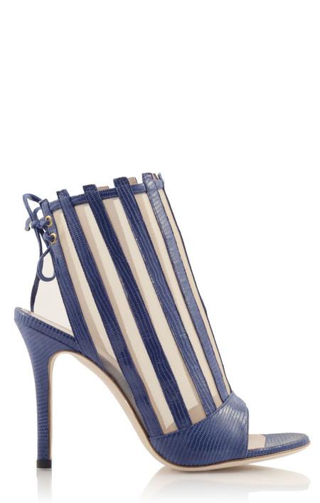 Konstantina Tzovolou Xena Navy Leather and Mesh High Sandal