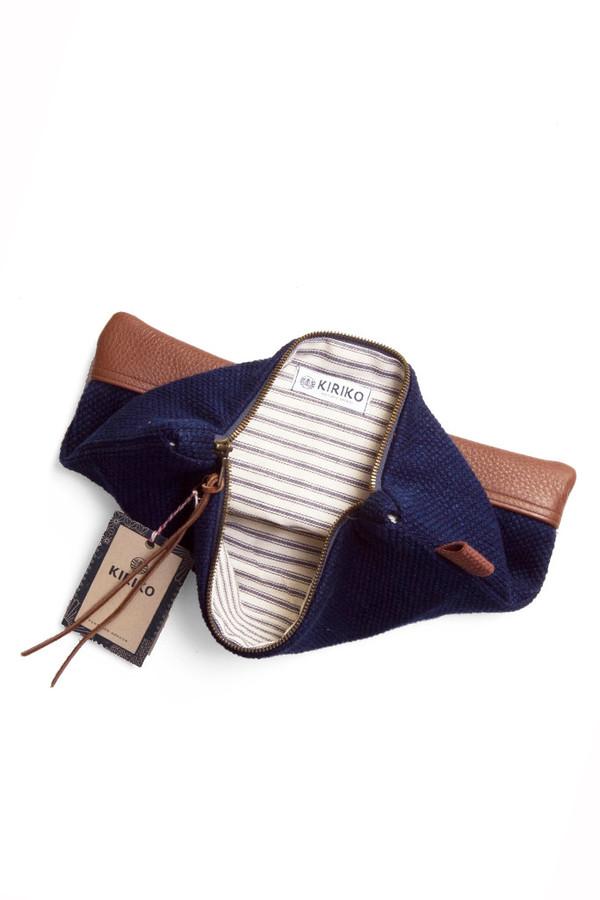 Kiriko Sashiko Leather Clutch Indigo
