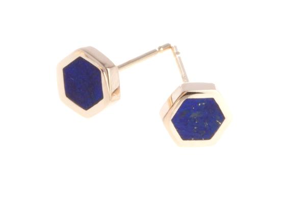 Shahla Karimi Honeycomb Ear Studs with Lapis