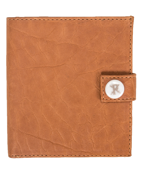 Parabellum 10-Card Officers Wallet in Pumpkin Bison with White Hardware