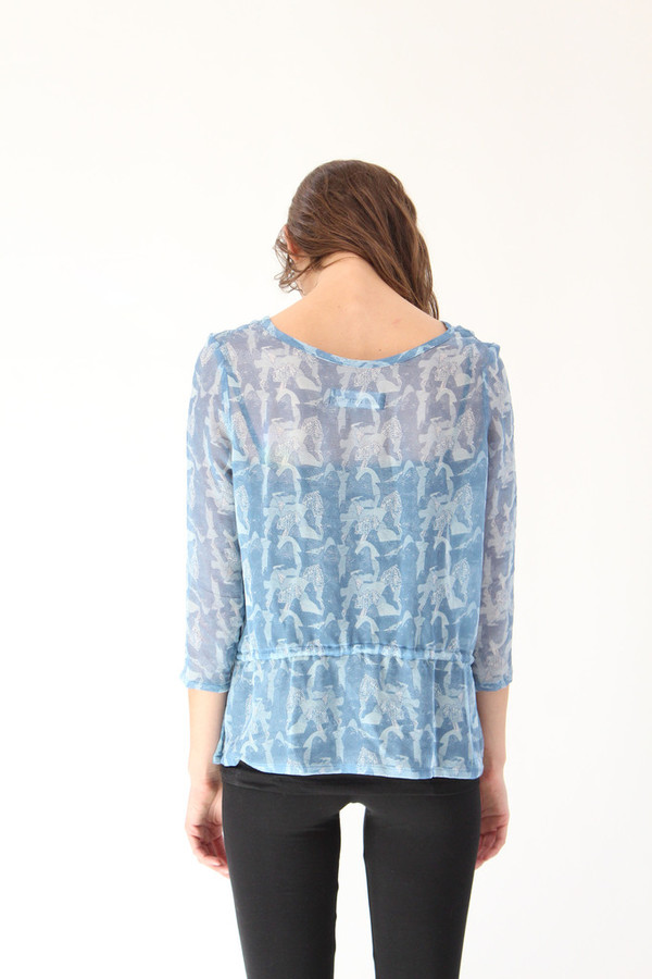 Lina Rennell Drawstring Silk Top Blue