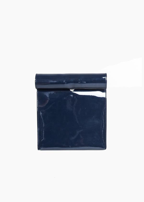 S M K Navy Vinyl Foldover Bag