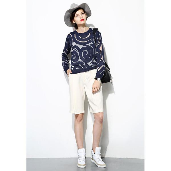 FEW MODA Sheer Circle Textured Sweater
