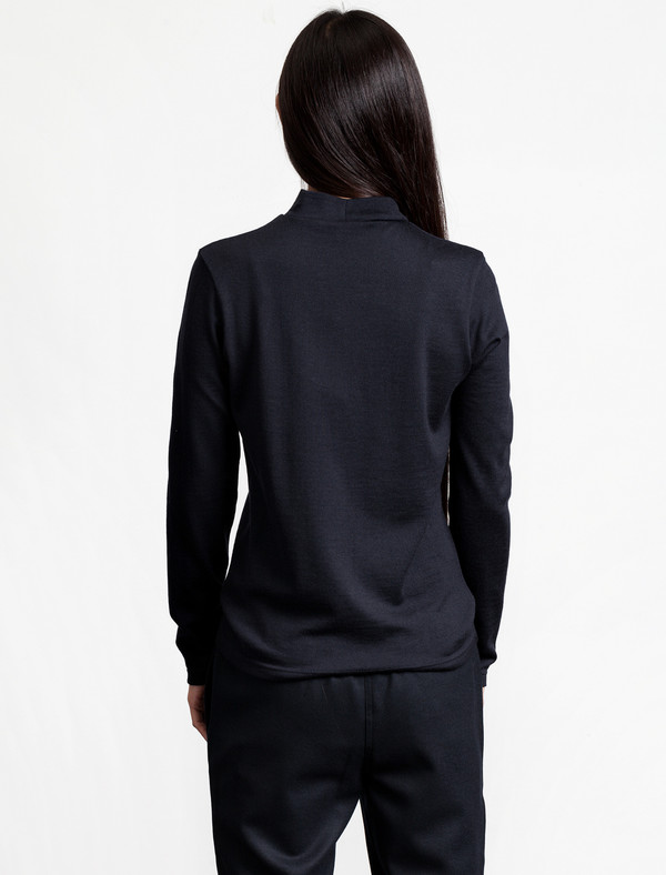 Sunspel Long Sleeve Funnel Neck Jumper Navy