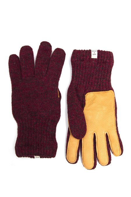Bridge & Burn Men's Lined Ragg Wool Glove Red Saddle
