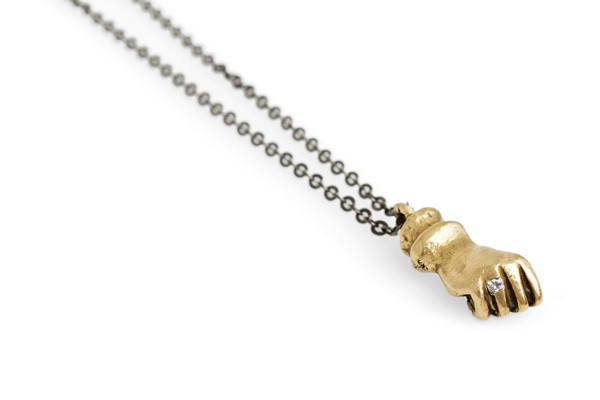 Mercurial NYC Bling Ring Fist Necklace