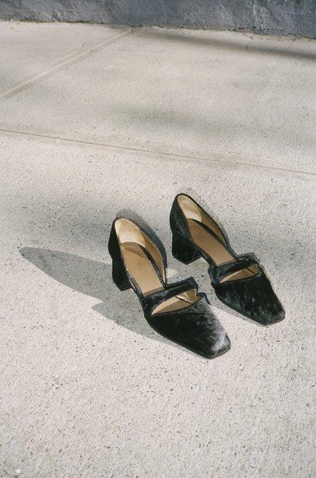 Vincetta Vintage 1990's Black Joan & David Velvet Square Toe Slides