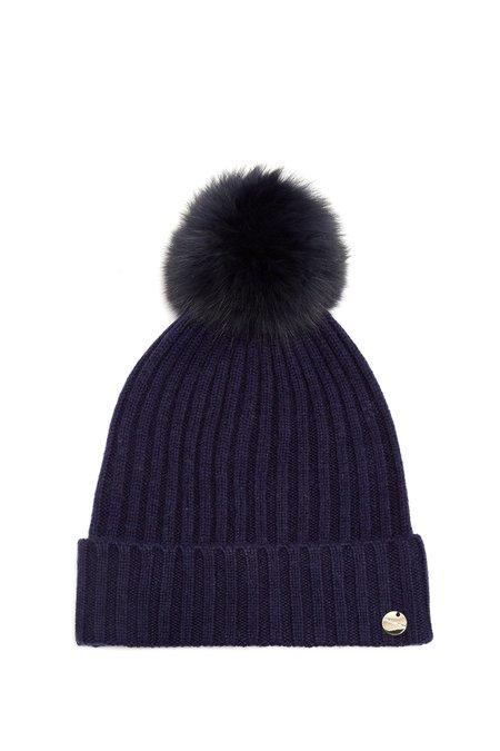 Yves Salomon Navy Fur Pom Pom Hat