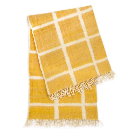 Archive New York Momos Grid Blanket-Rug - Natural White/Yellow Gold