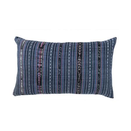 "Archive New York Vintage Indigo Ikat Pillow 12""x20"""