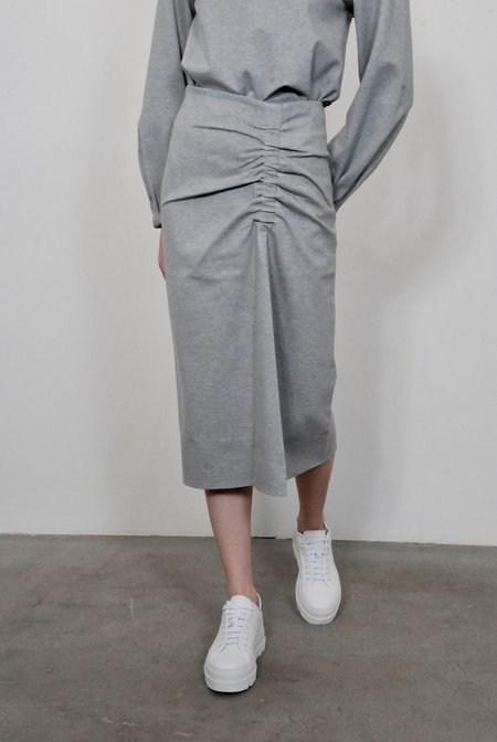 Tibi Bond Stretch Knit Shirred Skirt - Heather Grey
