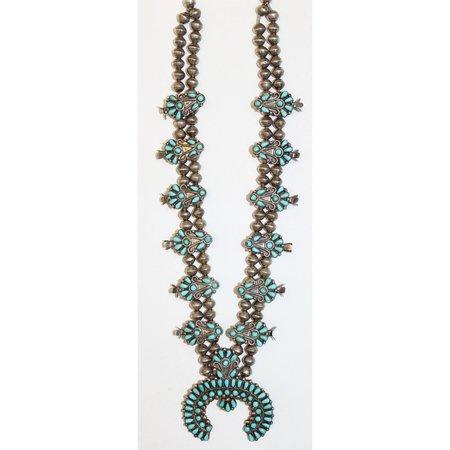 Peyote Moon Vintage Native American Zuni Turquoise Squash Blossom