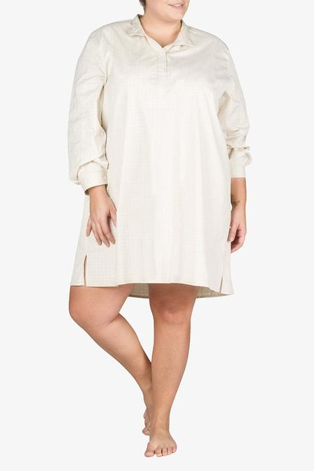 The Sleep Shirt Short Sleep Shirt Cream Rectangle Check PLUS